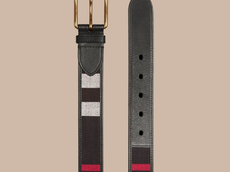 Navy Canvas Check and Leather Belt - cell image 2