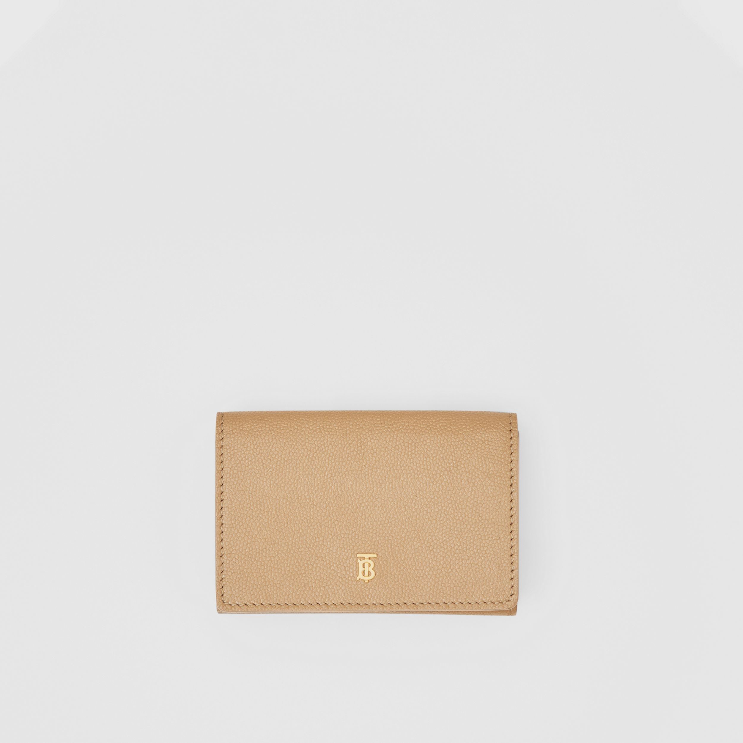 Small Grainy Leather Folding Wallet in Archive Beige - Women | Burberry Australia - 1