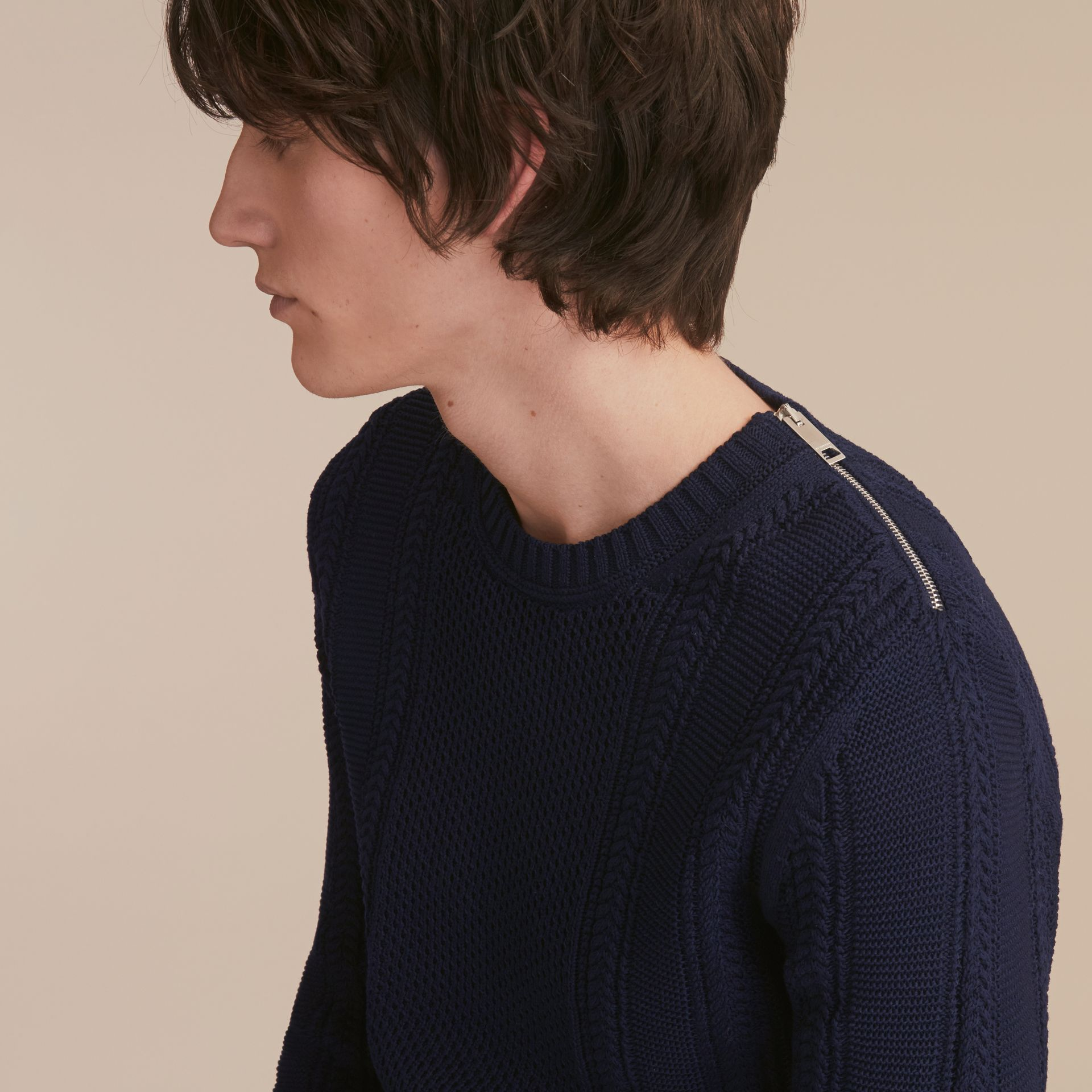 Zip Detail Aran Knit Cotton Sweater - gallery image 5