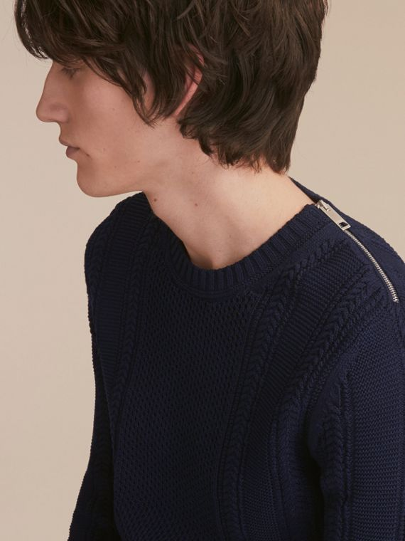 Zip Detail Aran Knit Cotton Sweater