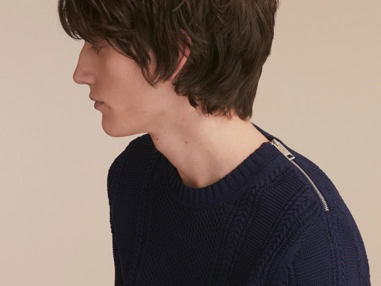 Zip Detail Aran Knit Cotton Sweater - cell image 4