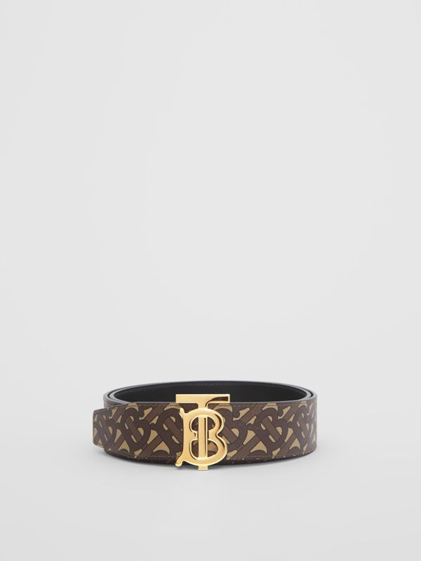 Reversible Monogram E-canvas and Leather Belt in Bridle Brown - Men | Burberry United Kingdom - cell image 3