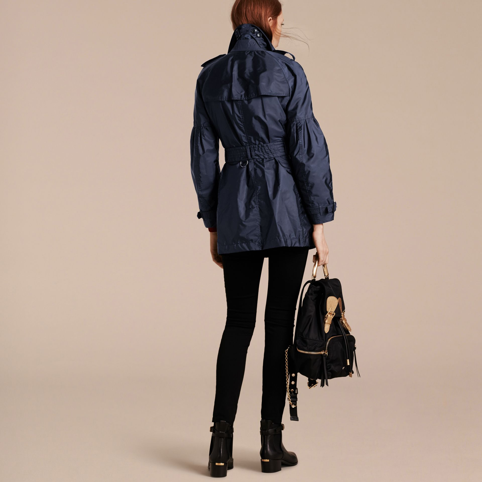 Packaway Trench Coat with Bell Sleeves in Navy - gallery image 3