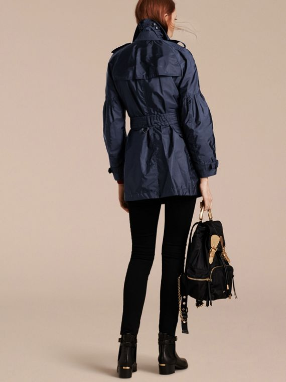 Packaway Trench Coat with Bell Sleeves in Navy - cell image 2
