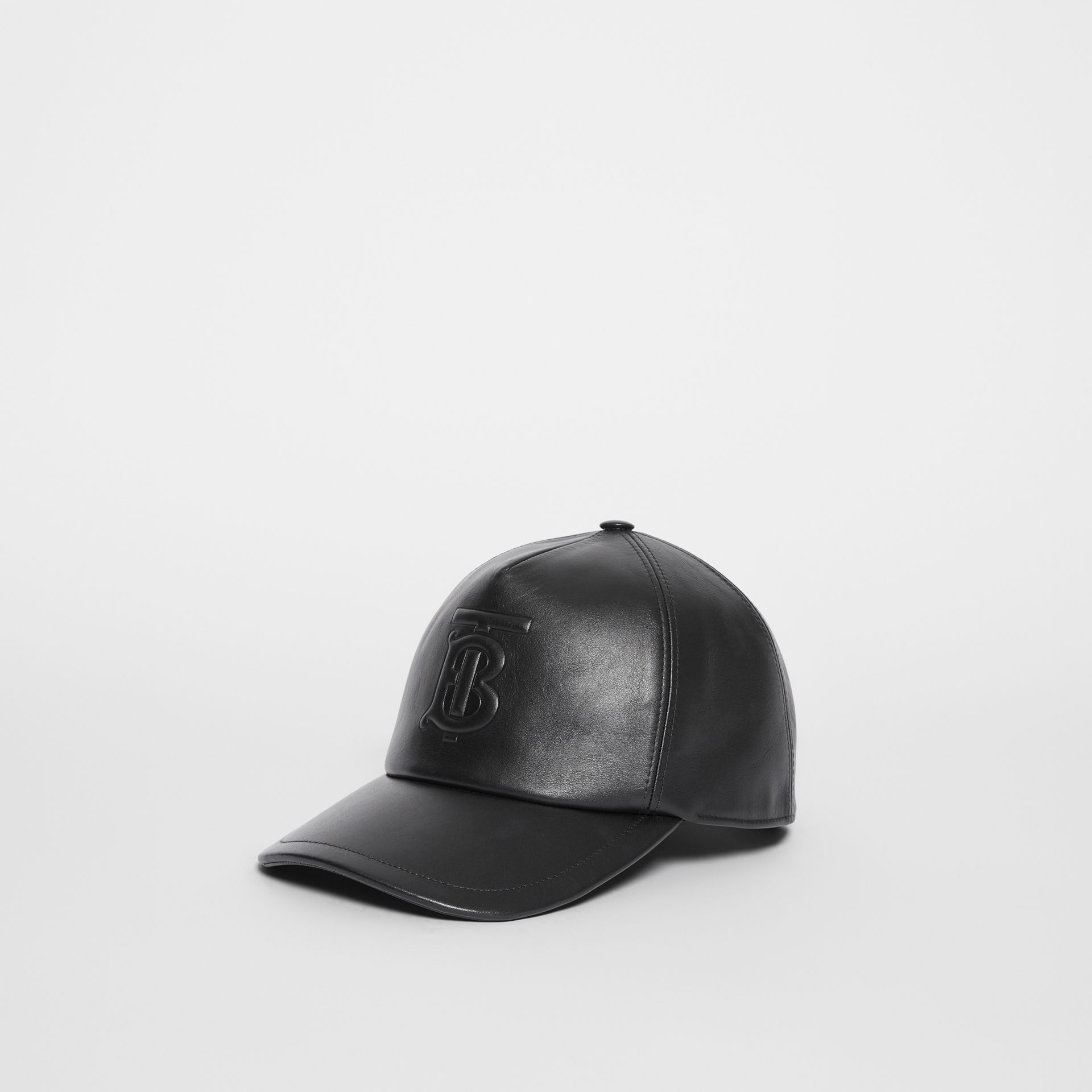 Monogram Motif Leather Baseball Cap in Black | Burberry United Kingdom - gallery image 3