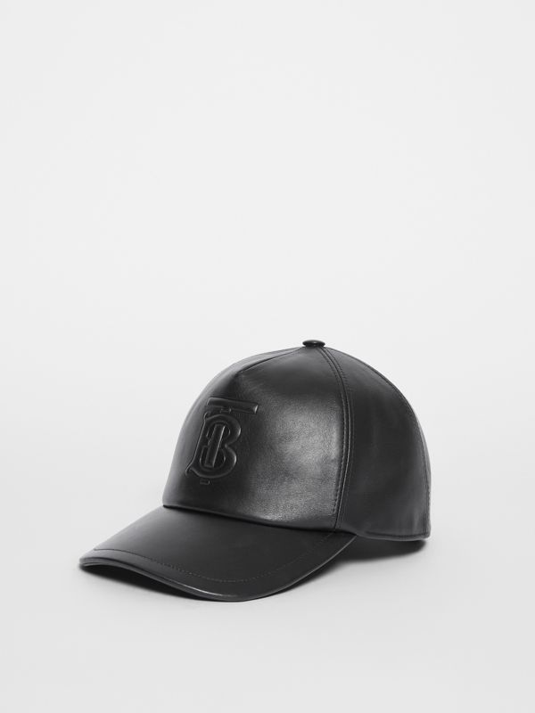 Monogram Motif Leather Baseball Cap in Black | Burberry United Kingdom - cell image 3