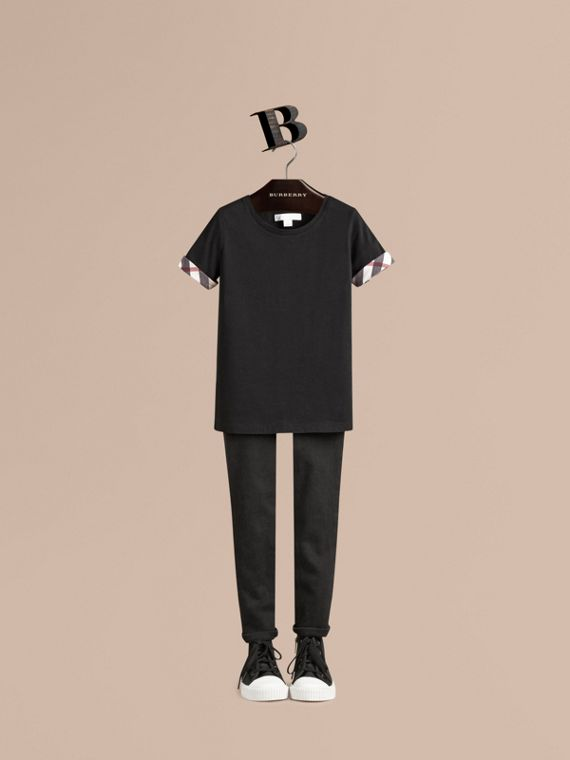 Check Detail Cotton T-shirt - Girl | Burberry
