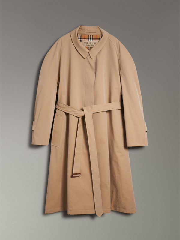 Painted Button Tropical Gabardine Car Coat in Honey - Women | Burberry - cell image 3