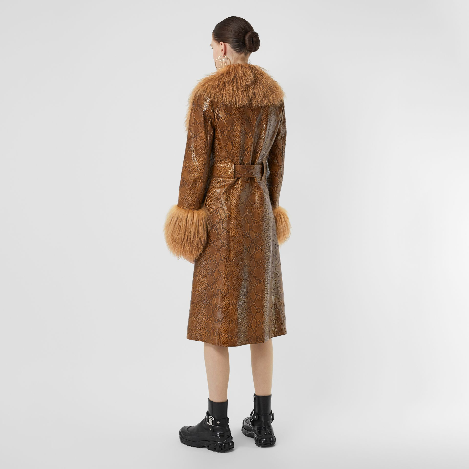 Shearling Trim Python Print Leather Coat in Brown - Women | Burberry United Kingdom - gallery image 2