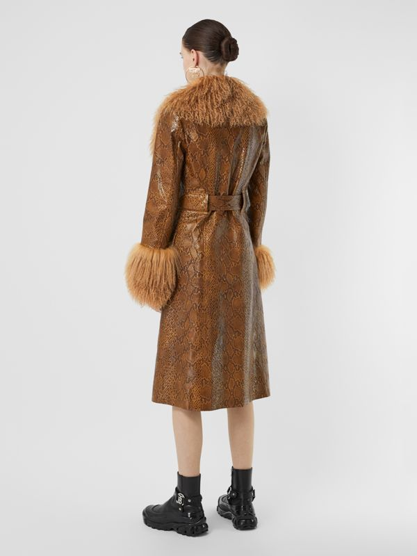 Shearling Trim Python Print Leather Coat in Brown - Women | Burberry United Kingdom - cell image 2