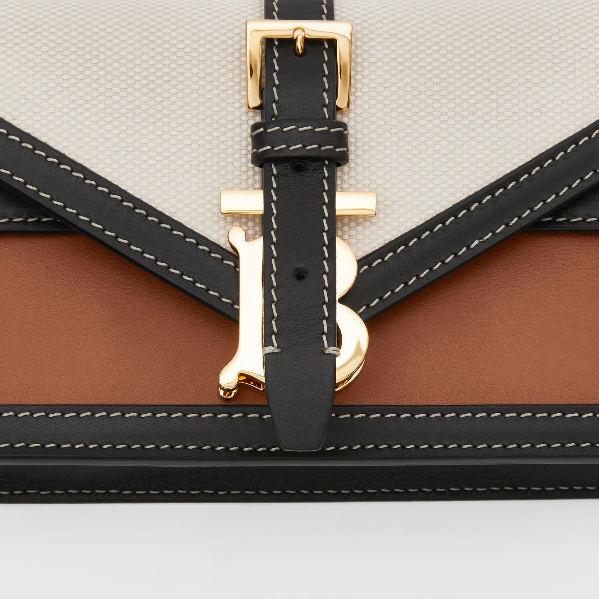 Mini Canvas and Leather TB Envelope Clutch in Tan - Women | Burberry - gallery image 1