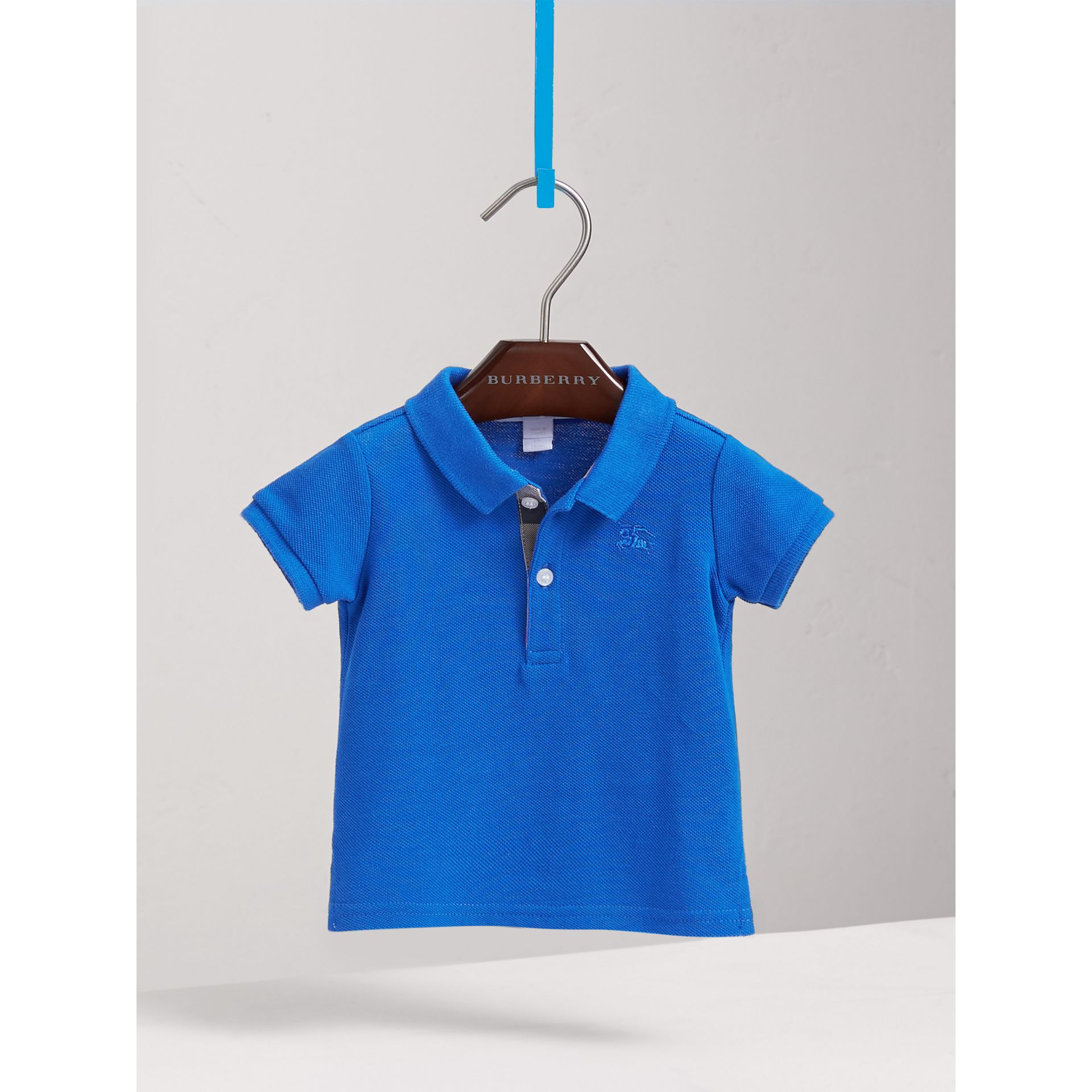 Check Placket Cotton Piqué Polo Shirt in Cobalt Blue | Burberry - gallery image 3
