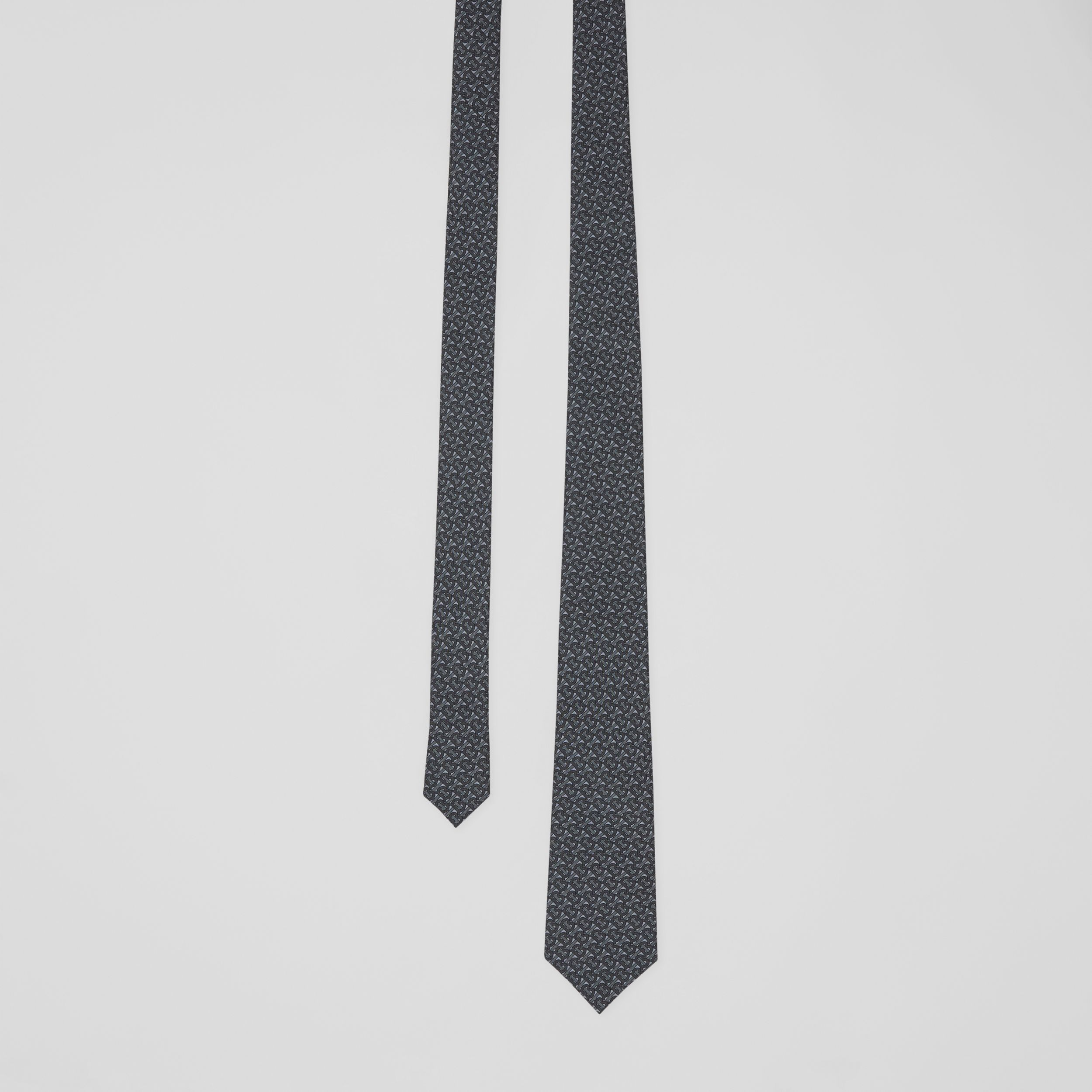 Classic Cut Monogram Silk Jacquard Tie in Mid Grey - Men | Burberry - 1