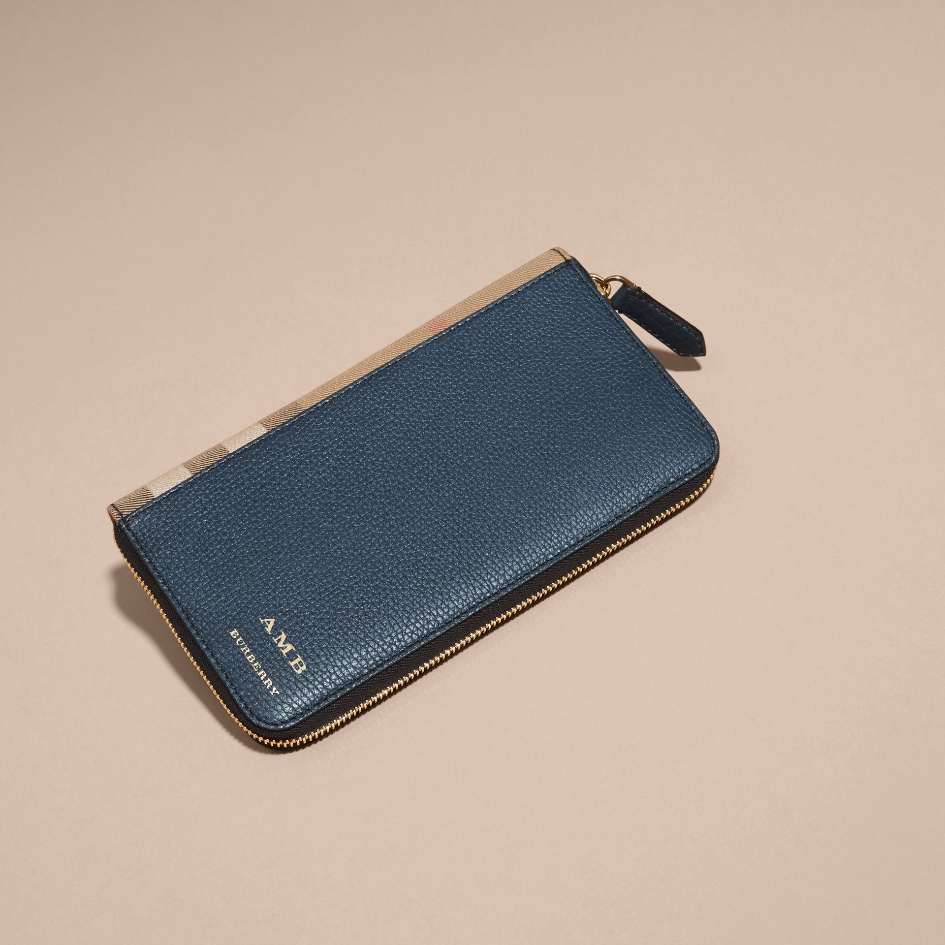 House Check and Grainy Leather Ziparound Wallet Storm Blue - gallery image 7