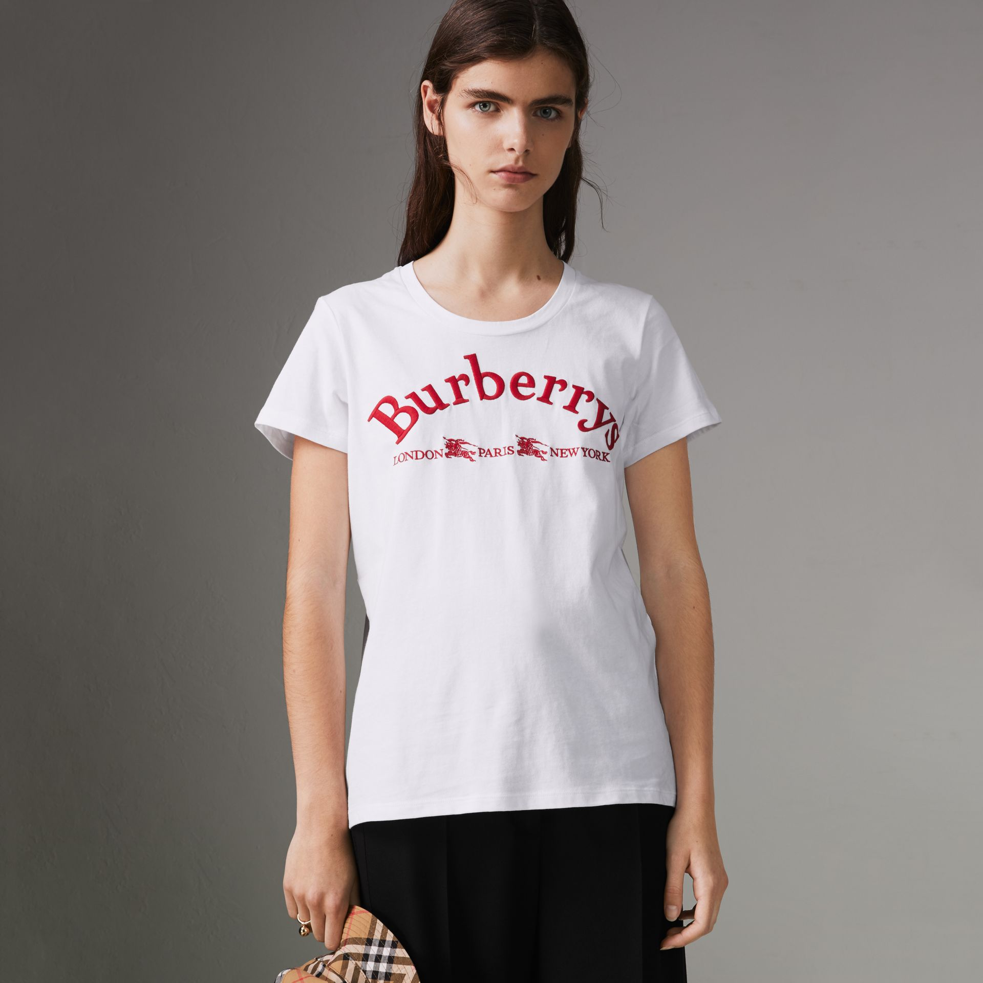 Embroidered Archive Logo Cotton T-shirt in White - Women | Burberry United States - gallery image 0