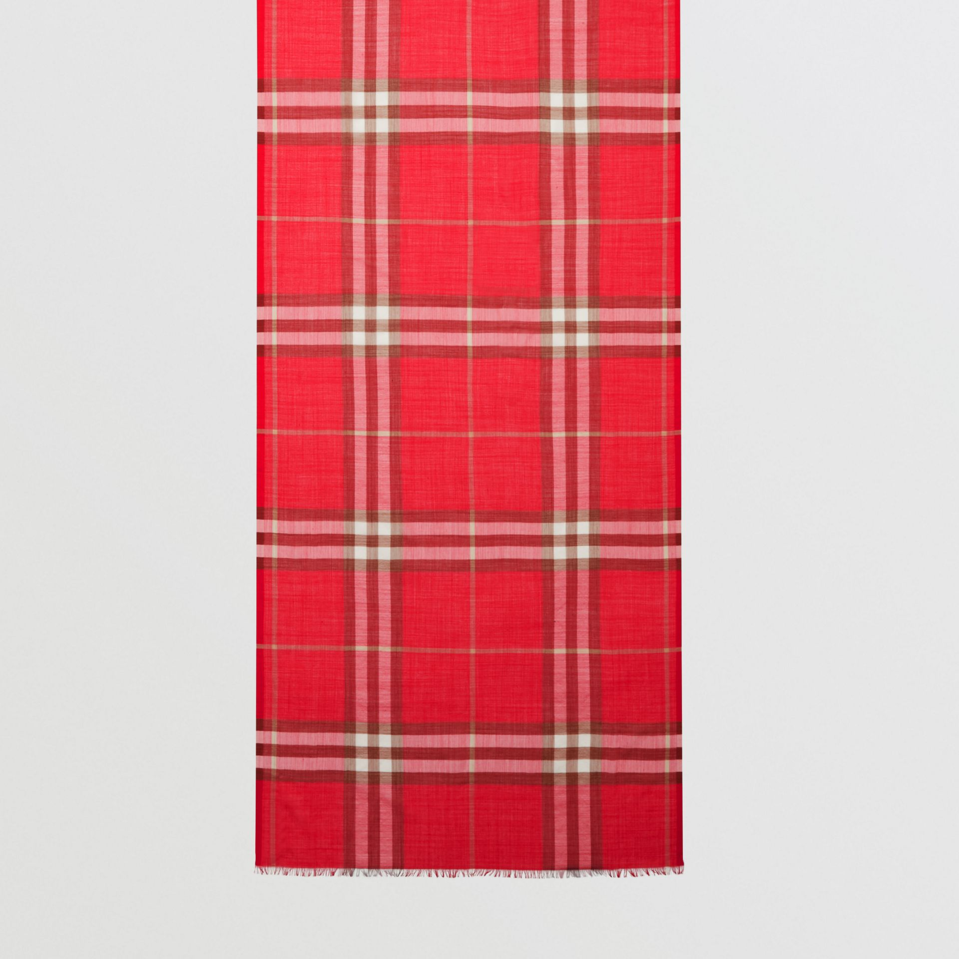 Lightweight Check Wool Silk Scarf in Bright Red | Burberry - gallery image 4