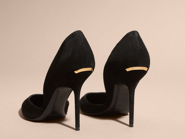Point-toe Suede D'Orsay Pumps in Black - Women | Burberry - cell image 4