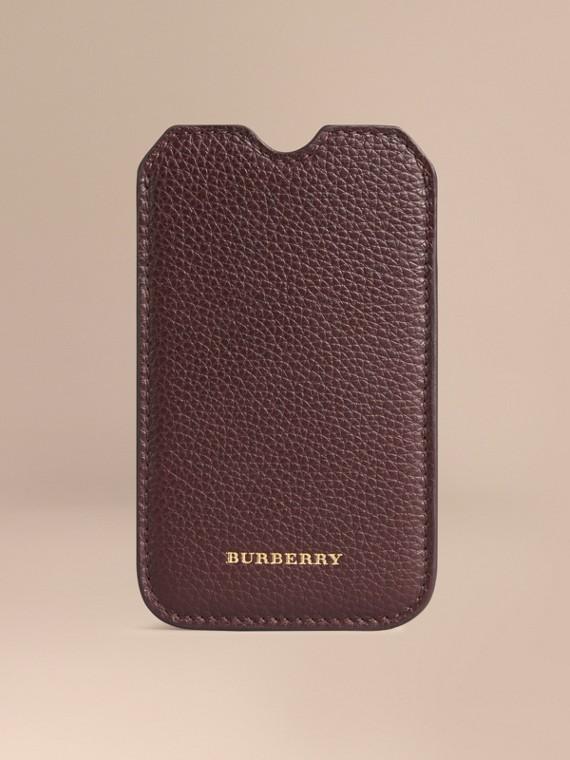 Custodia in pelle a grana per iPhone 5/5S Rosso Ebano