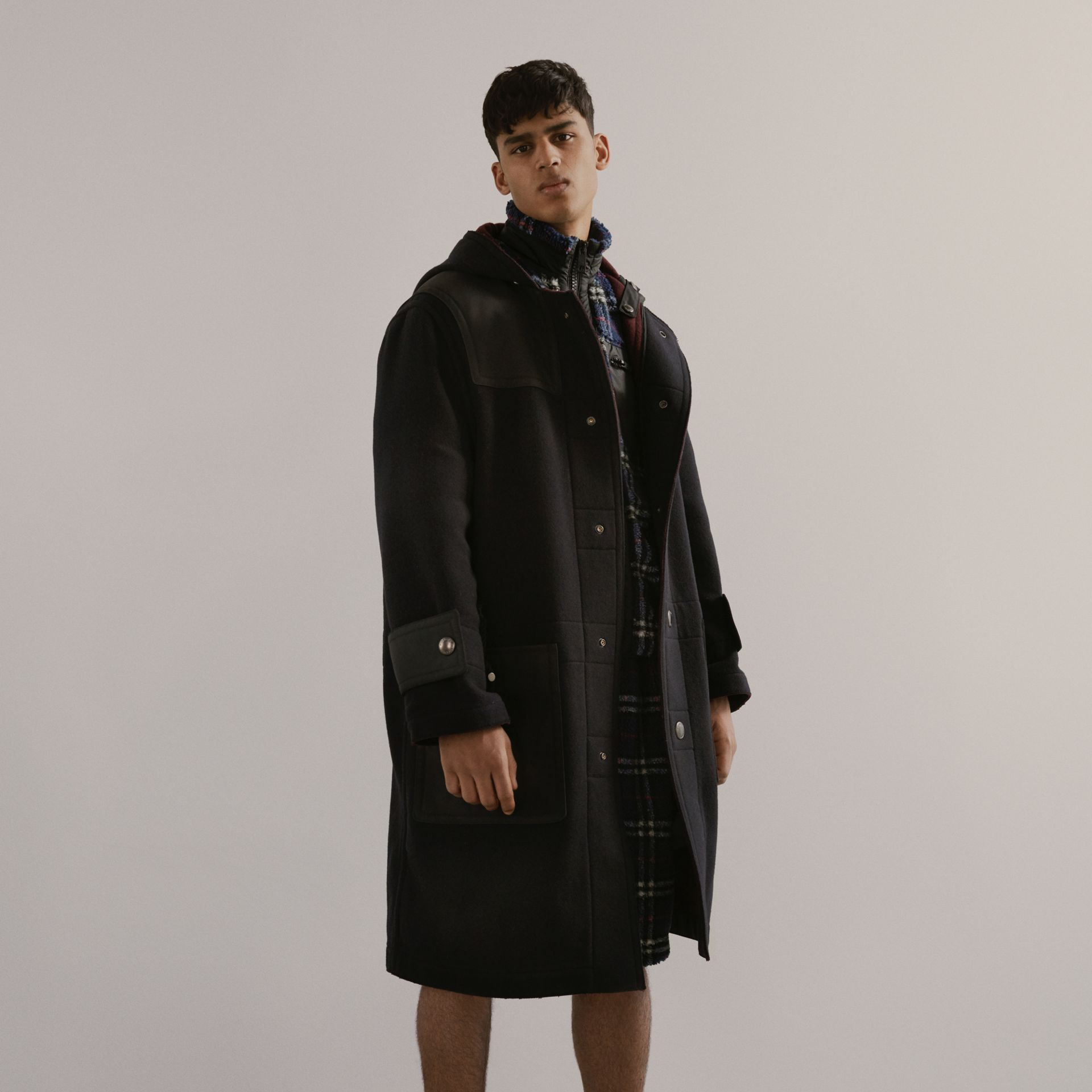 Double-faced Wool Blend Duffle Coat in Navy/burgundy - Men | Burberry - gallery image 1
