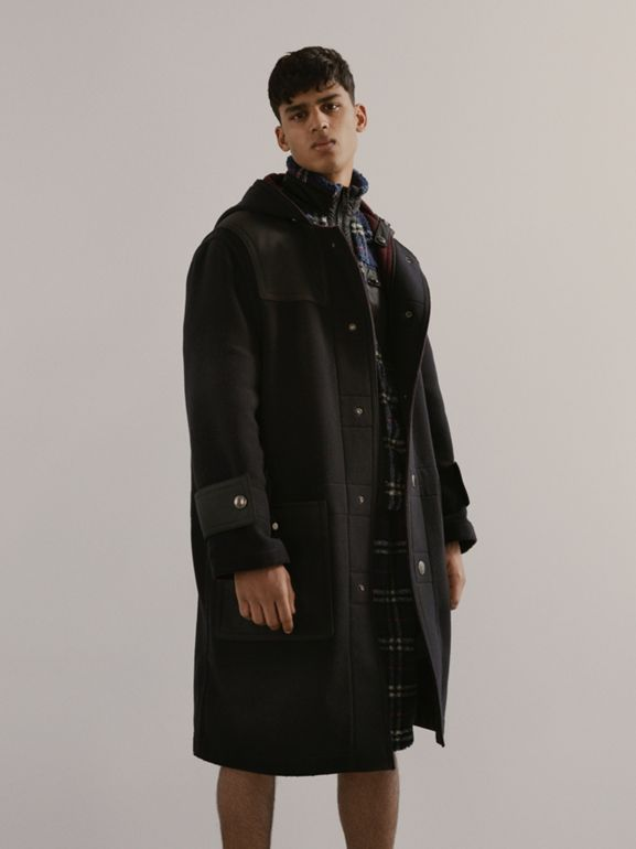 Double-faced Wool Blend Duffle Coat in Navy/burgundy - Men | Burberry - cell image 1