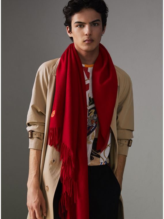 The Burberry Bandana in Embroidered Cashmere in Parade Red | Burberry - cell image 3