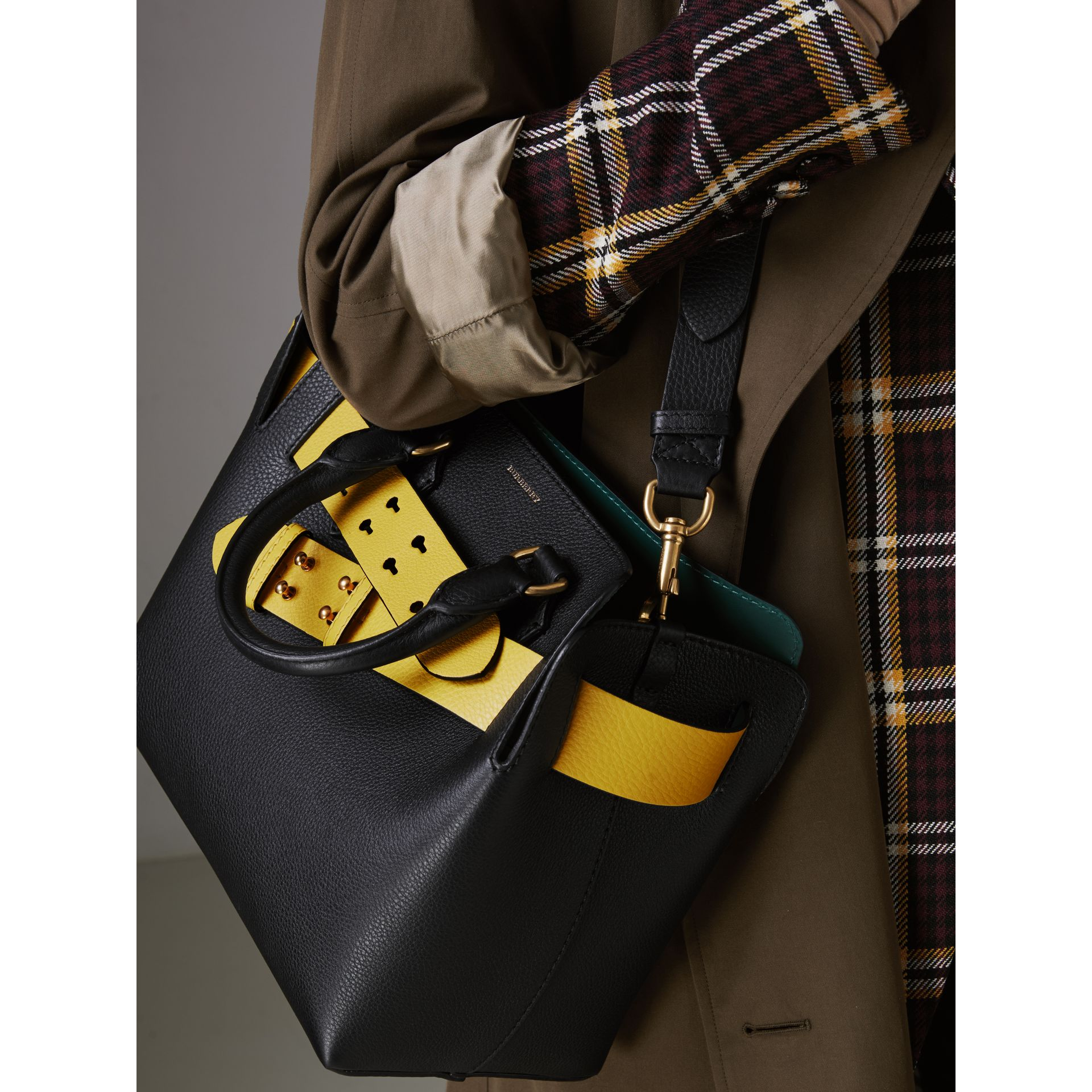 The Small Leather Belt Bag in Black/yellow - Women | Burberry United Kingdom - gallery image 3