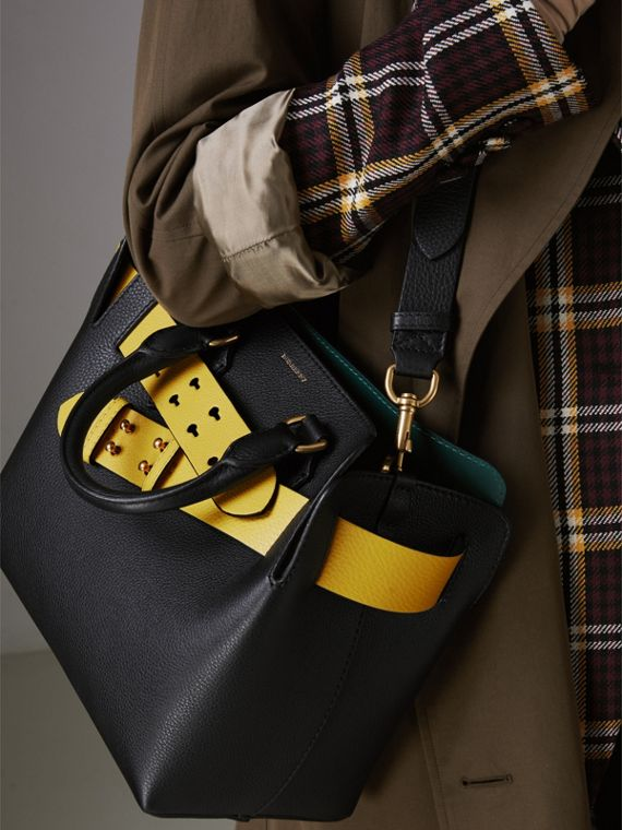 The Small Leather Belt Bag in Black/yellow - Women | Burberry - cell image 3