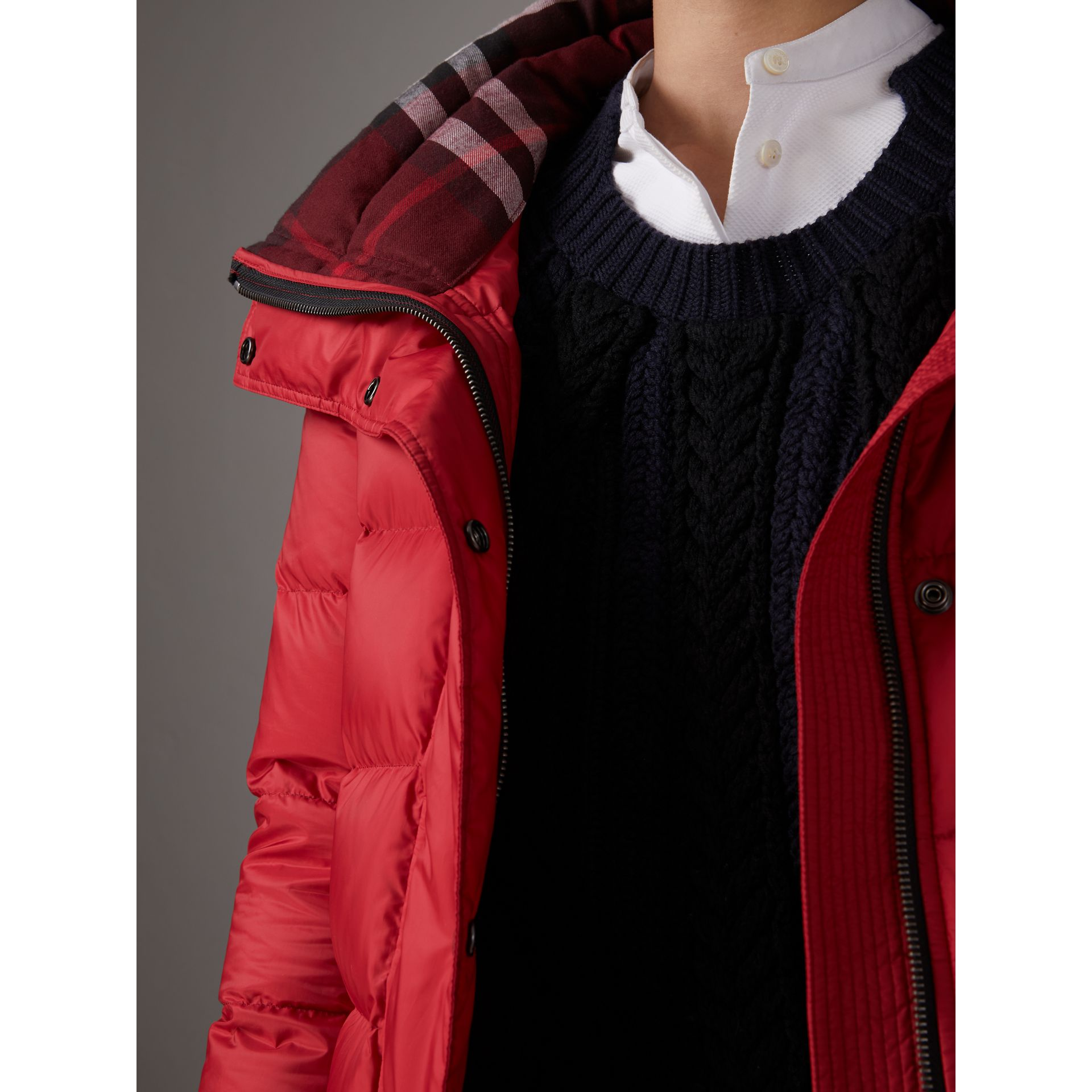 Down-filled Puffer Coat With Detachable Hood in Parade Red - Women | Burberry United Kingdom - gallery image 2