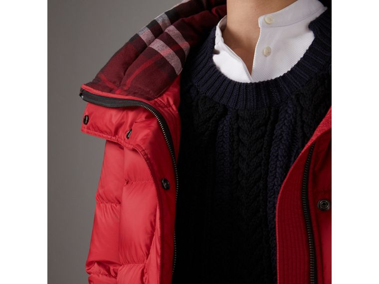Down-filled Puffer Coat With Detachable Hood in Parade Red - Women | Burberry Hong Kong - cell image 1