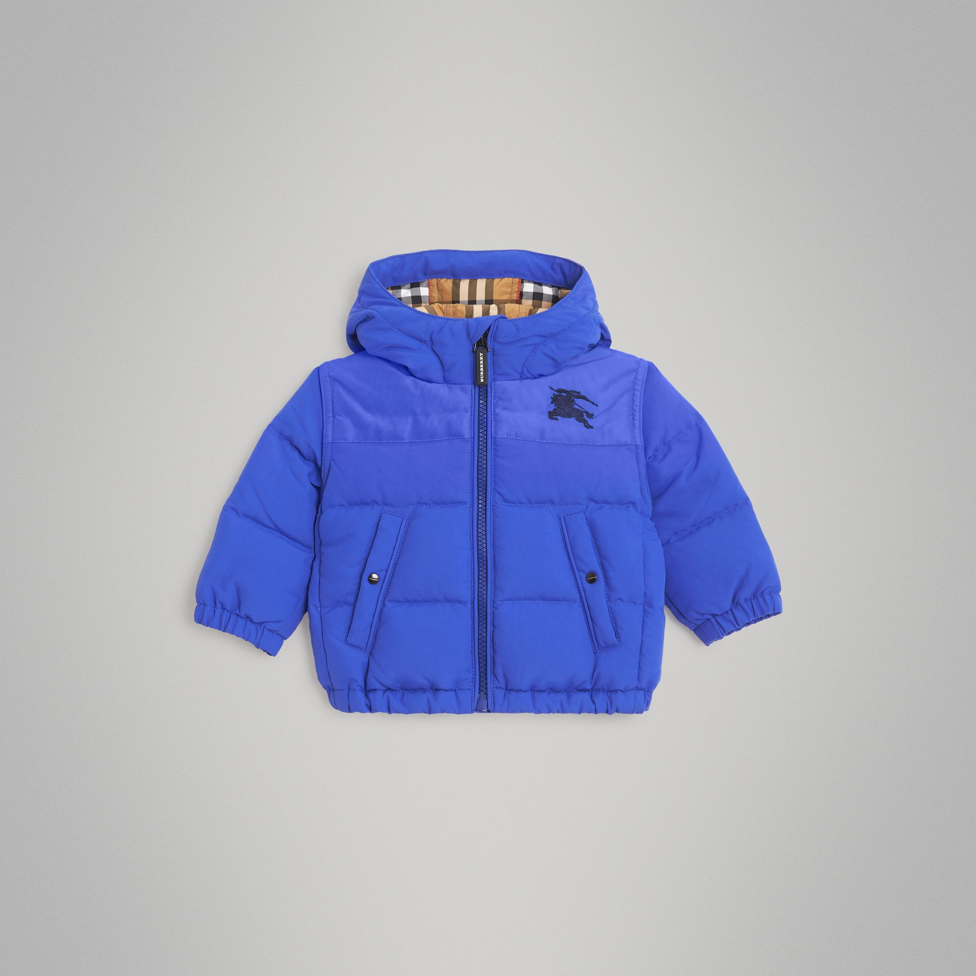 Down-filled Hooded Puffer Jacket in Royal Blue - Children | Burberry United Kingdom - gallery image 0