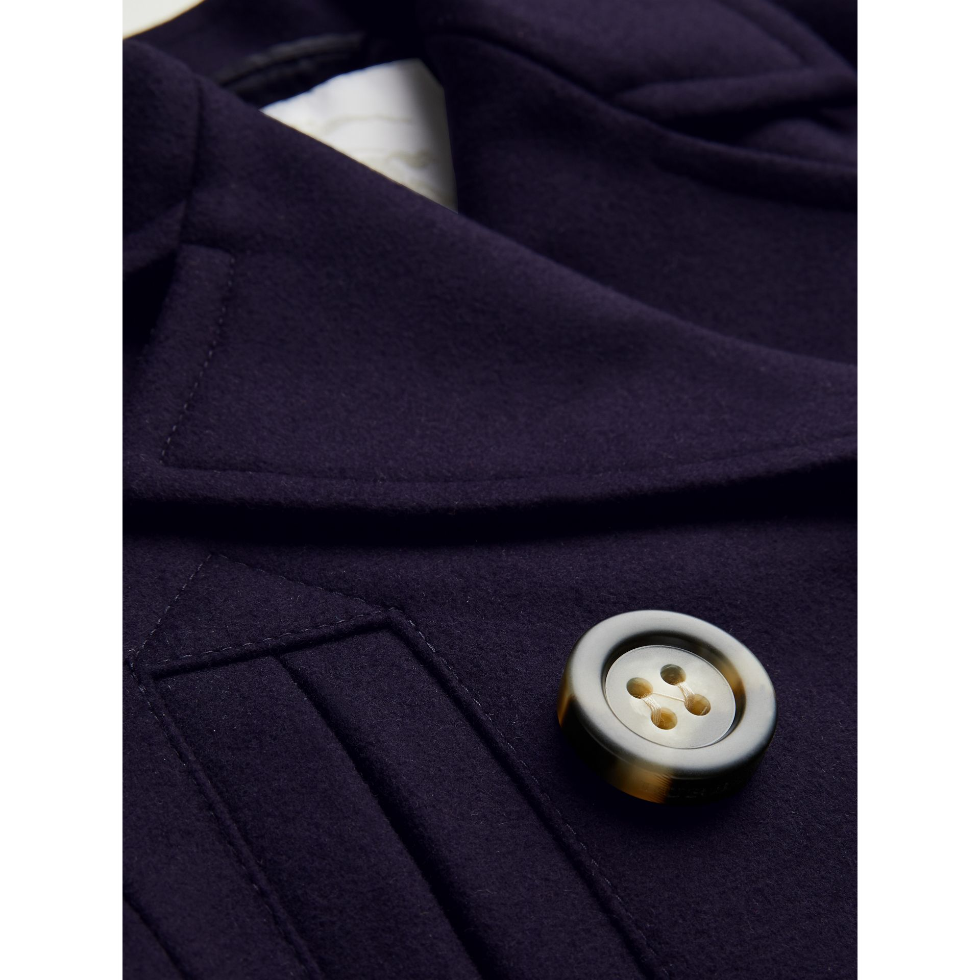 Short Wool Pea Coat in Navy | Burberry United Kingdom - gallery image 4