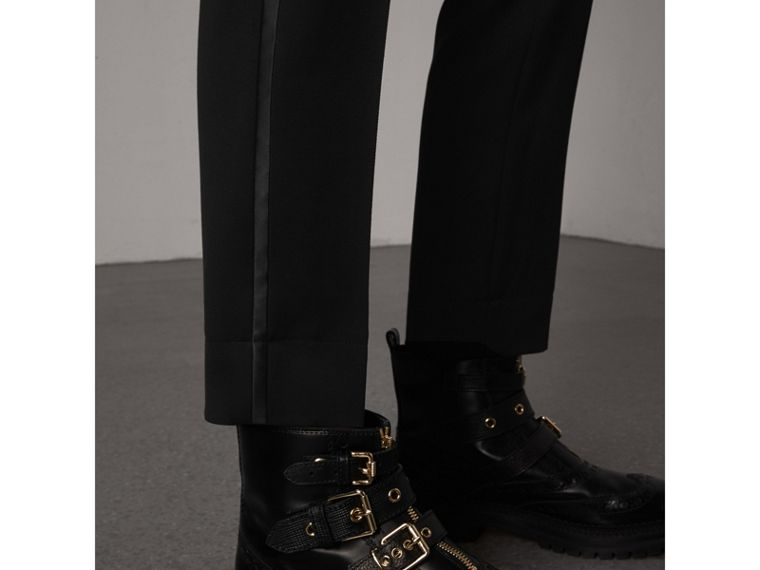 Ribbon Detail Tie-waist Wool Trousers in Black - Women | Burberry - cell image 1