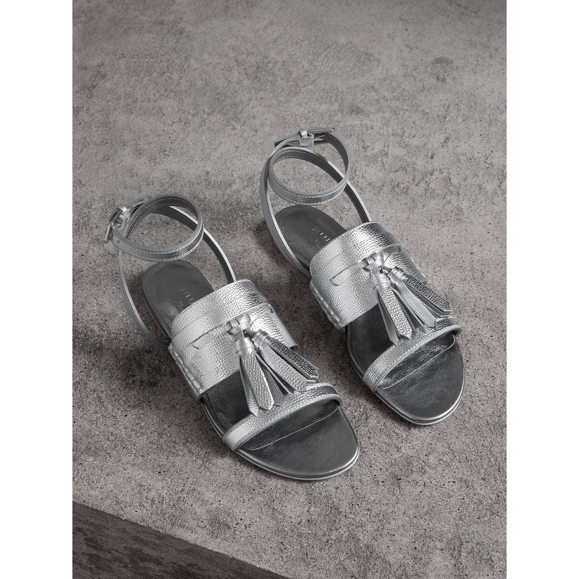 Tasselled Metallic Leather Sandals in Silver - Women | Burberry Singapore - gallery image 0