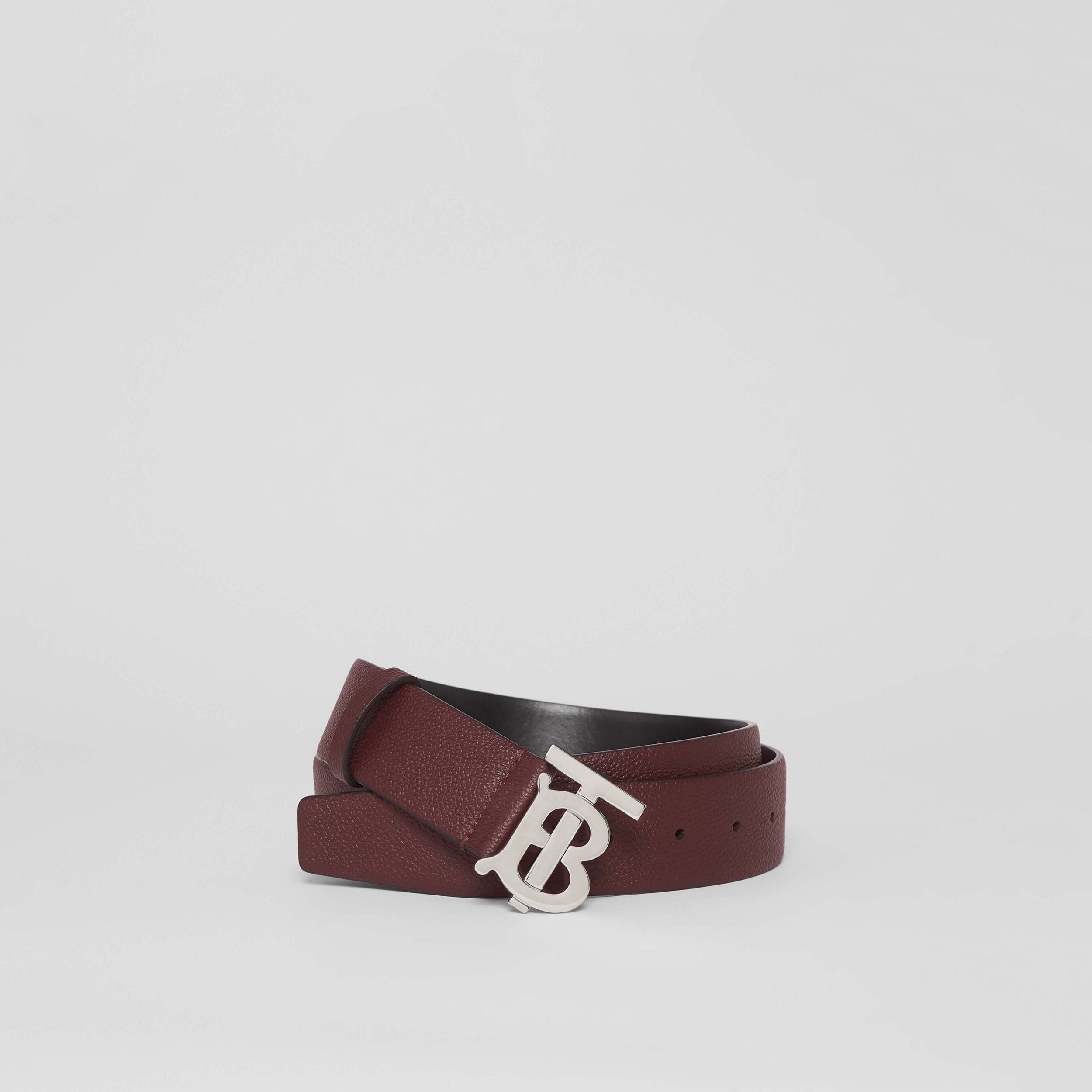 Monogram Motif Leather Belt in Oxblood - Men | Burberry - 1