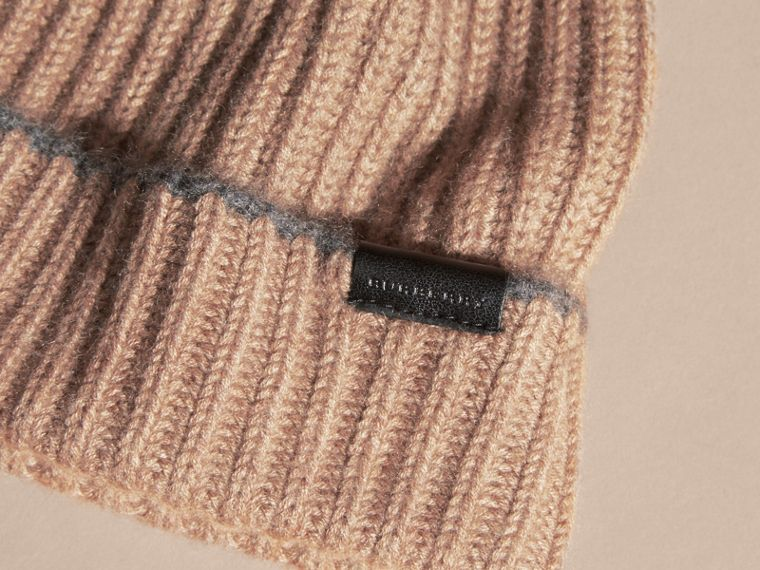 Mink grey/mid grey Ribbed Cashmere Beanie with Border Detail Mink Grey/mid Grey - cell image 2