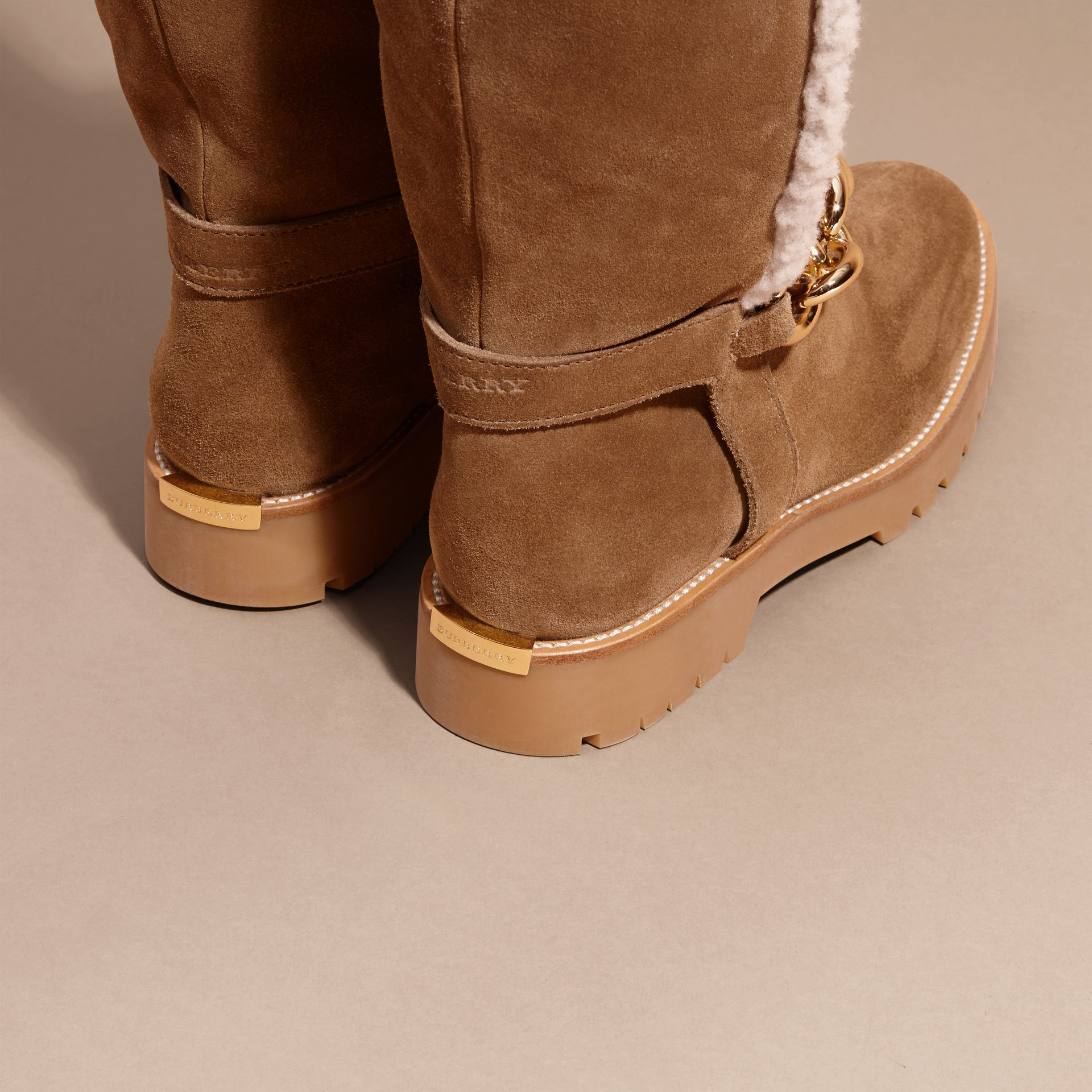 Light oak brown Chain Detail Shearling and Suede Boots - gallery image 4