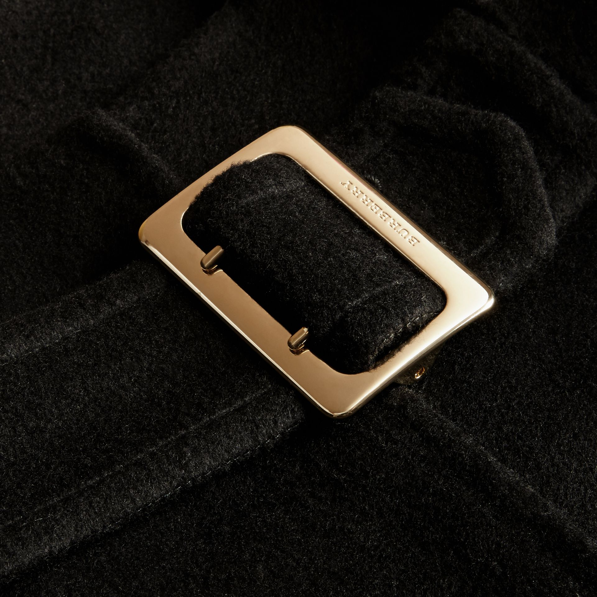 Black Panelled Cashmere Cape with Buckle Detail - gallery image 2