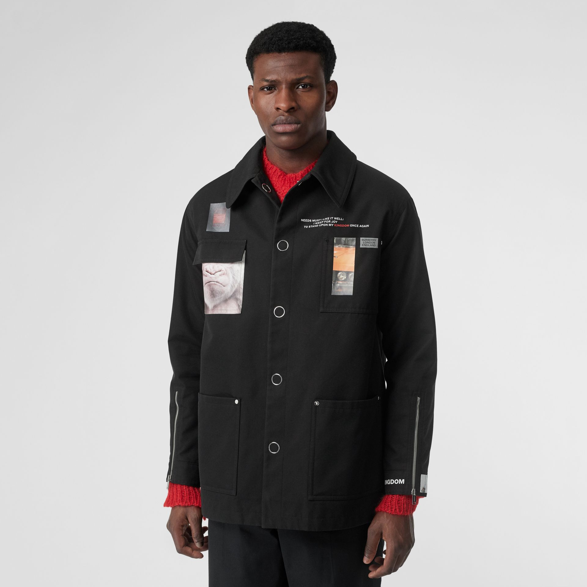 Montage Print Cotton Gabardine Workwear Jacket in Black - Men | Burberry - gallery image 6
