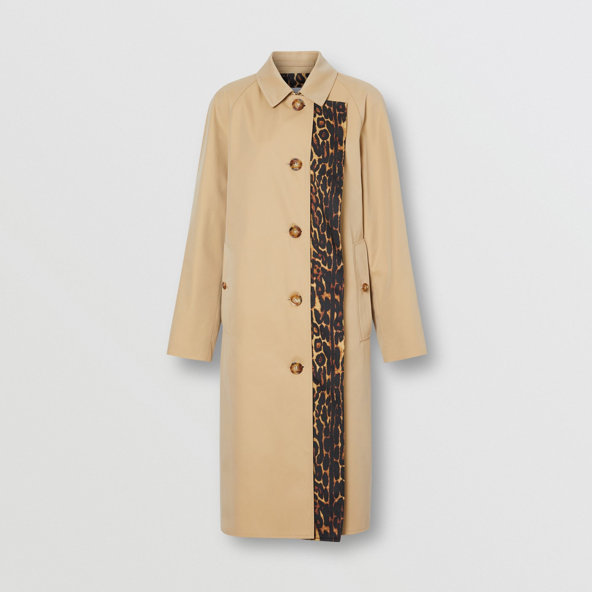 Leopard Print-lined Cotton Gabardine Car Coat in Honey - Women | Burberry Australia - gallery image 8