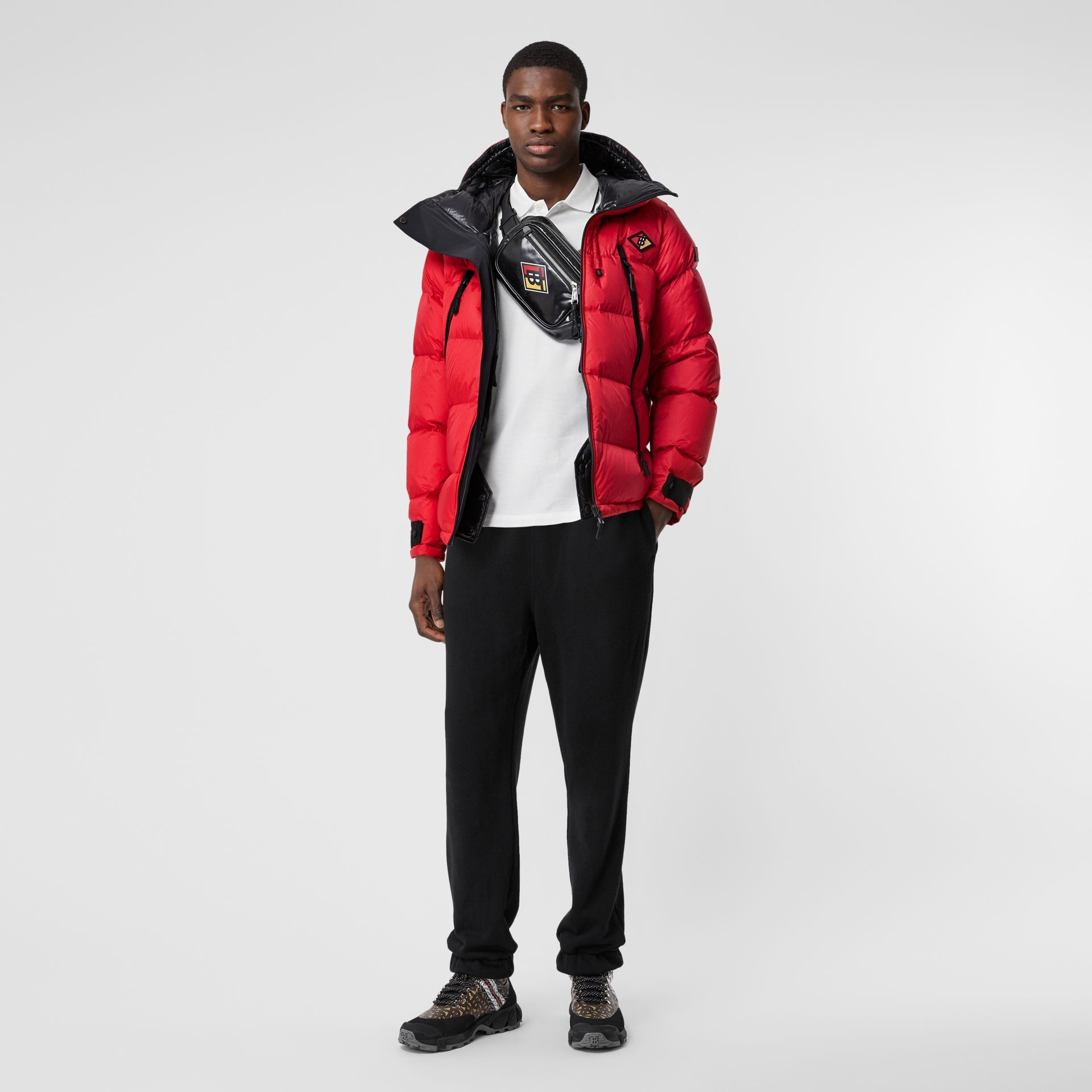 Logo Graphic Hooded Puffer Jacket in Bright Red - Men | Burberry - gallery image 3
