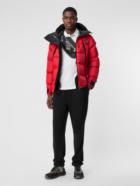Logo Graphic Hooded Puffer Jacket in Bright Red