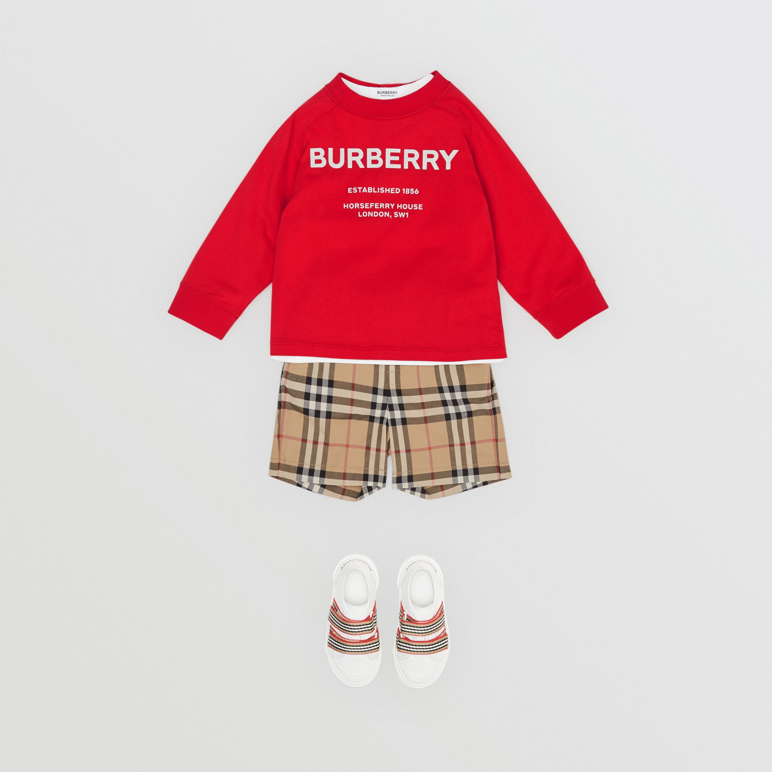 Long-sleeve Horseferry Print Cotton Top in Bright Red - Children | Burberry - 4