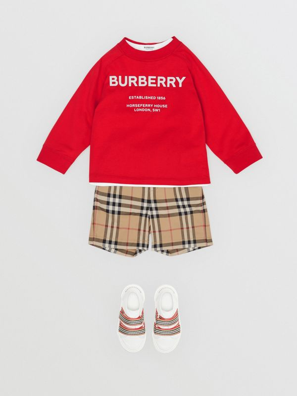 Long-sleeve Horseferry Print Cotton Top in Bright Red - Children | Burberry - cell image 3