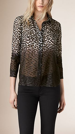 Animal Print Technical Silk Blend Fil Coupé Shirt