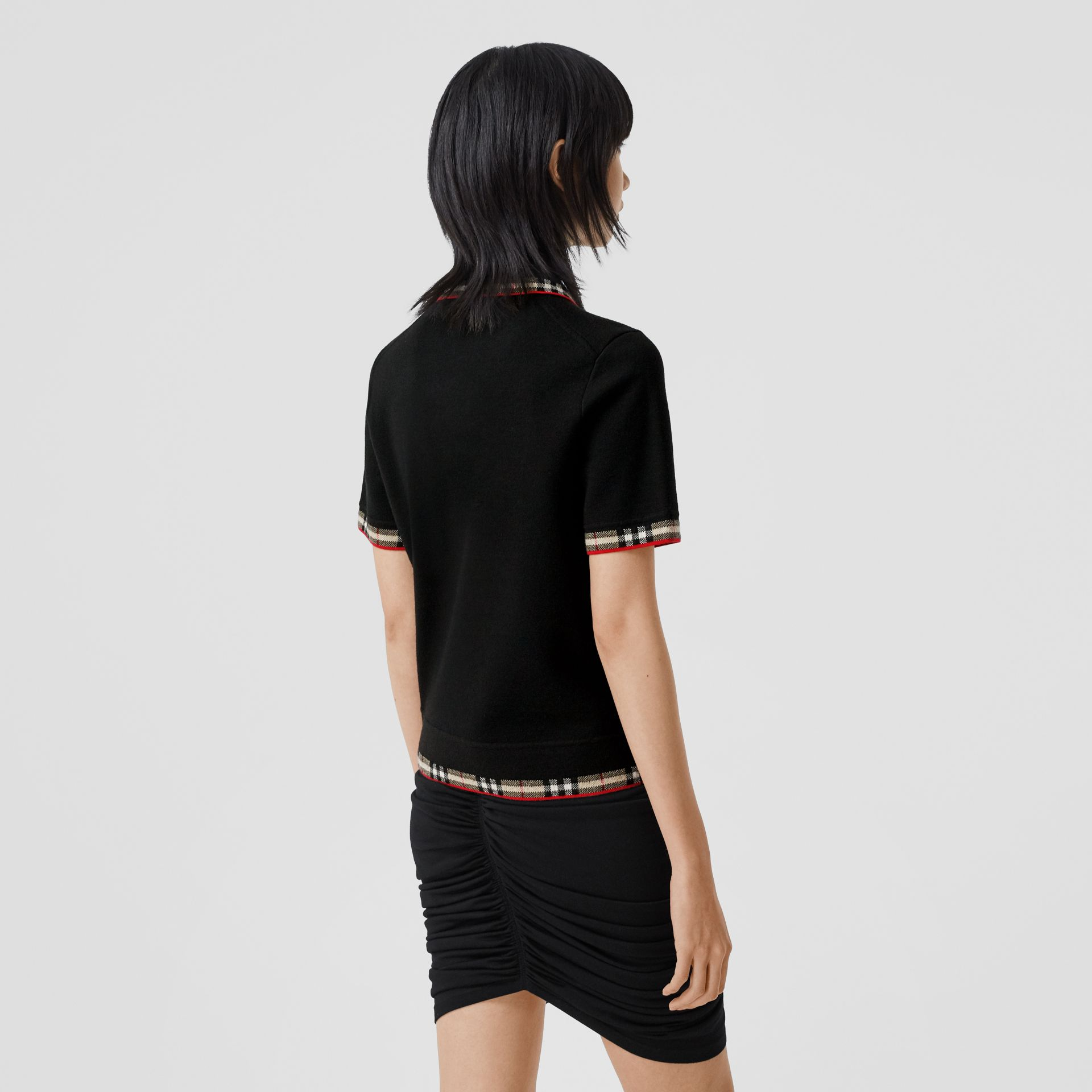 Check Trim Merino Wool Blend Polo Shirt in Black - Women | Burberry - gallery image 2