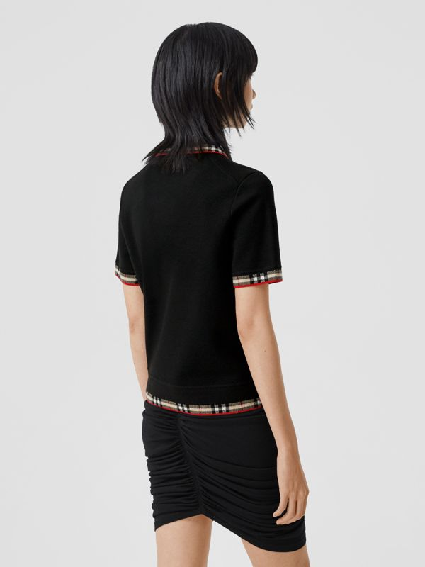 Check Trim Merino Wool Blend Polo Shirt in Black - Women | Burberry - cell image 2