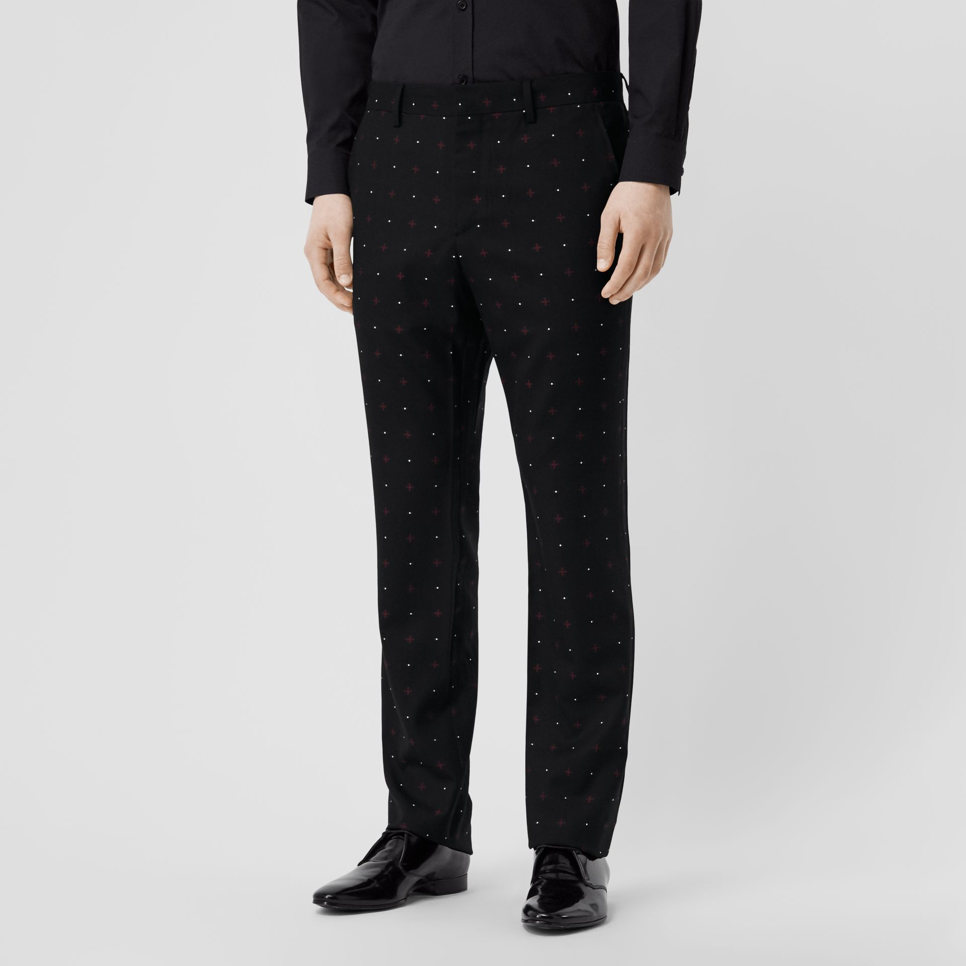 Classic Fit Fil Coupé Wool Cotton Tailored Trousers in Black - Men | Burberry - gallery image 4