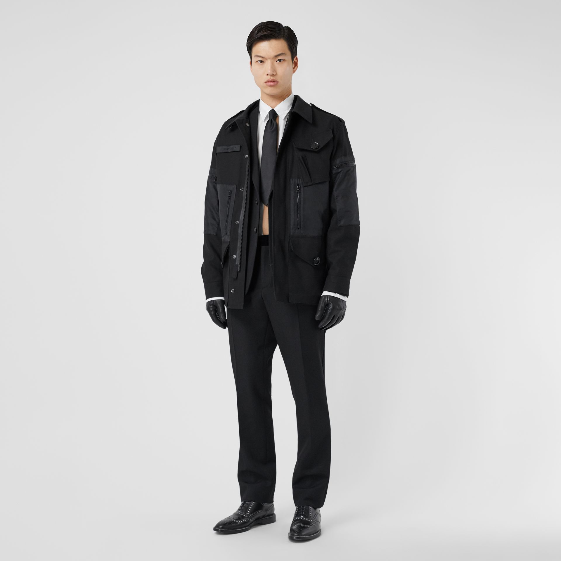 Cotton Gabardine Field Jacket in Black - Men | Burberry - gallery image 0