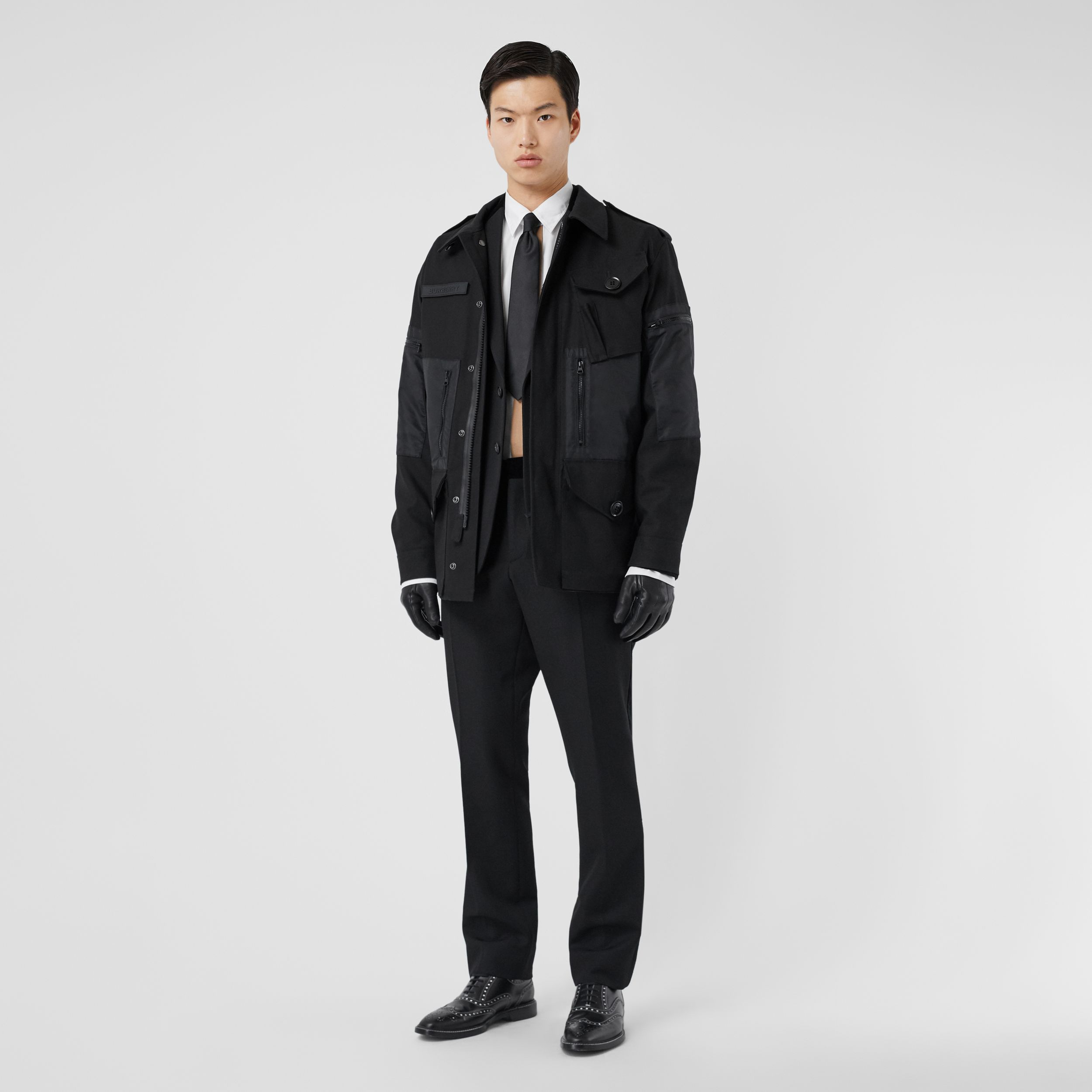 Cotton Gabardine Field Jacket in Black - Men | Burberry - 1