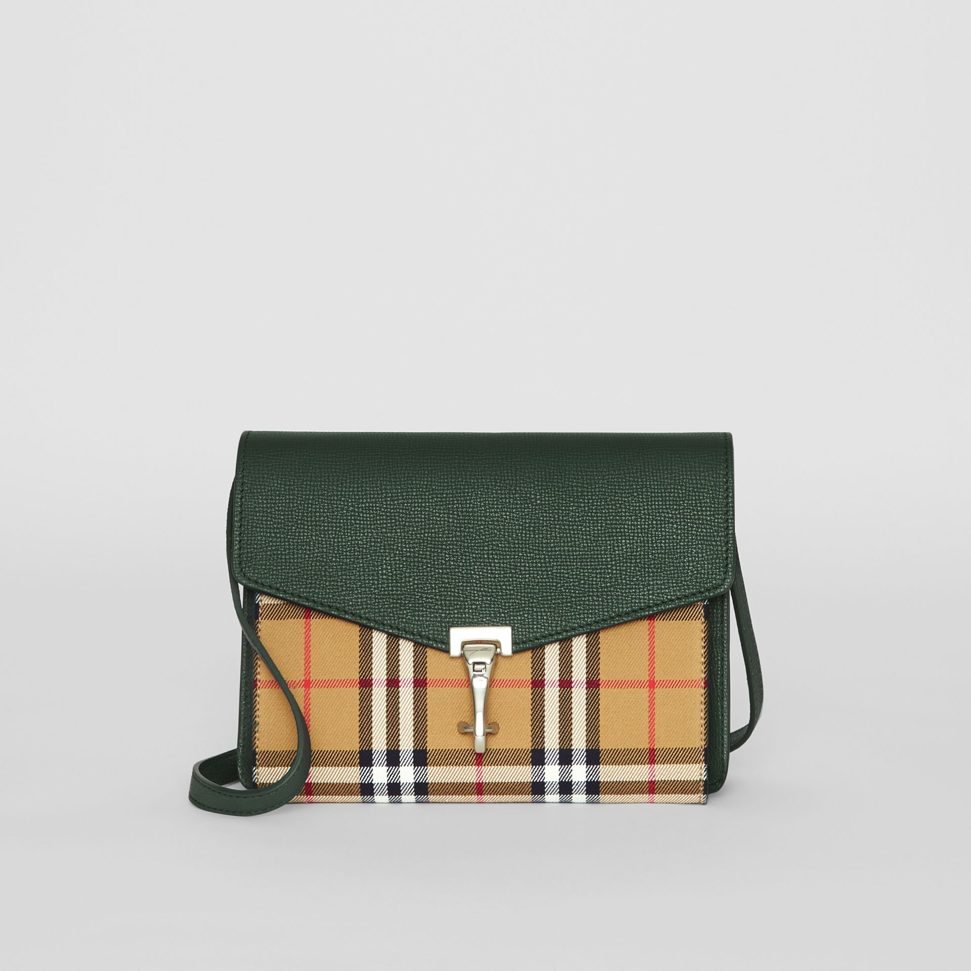 Small Vintage Check and Leather Crossbody Bag in Green - Women | Burberry United States - gallery image 0